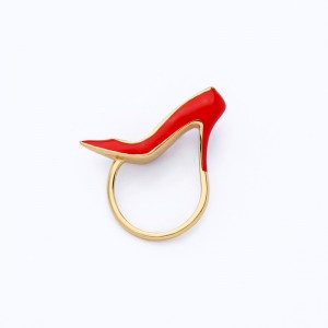 Gold Plated For Women Designer High Heel Shoe Jewelry Brass Enamel Colour Ring