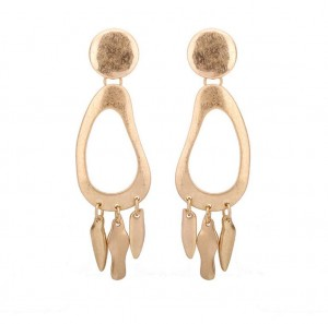 Europe and America gold plated metal tassel earrings geometric jewelry women