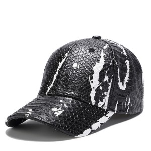 WENZHE Mens Black Snakeskin PU Leather Baseball Caps