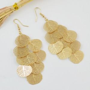 Fashion Statement Jewelry Gold Hollow Multi Layer Leaf Chandelier Earrings for Women