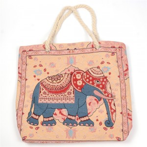 WENZHE Wholesale Stylish Elephant Printed Beach Handbag For Ladies