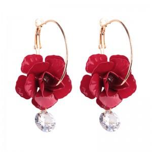 Wholesale New Design Fashion Zircon Big Flower Gold Circle Mini Hoop Earring