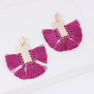 Newest Bohemian Style Geometric Bright Metal Statement Tassel Dangle Earrings Handmade Fashion Jewelry