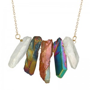 Fashion Colorful Crystal Pendant Necklace Women Natural Stone Necklace