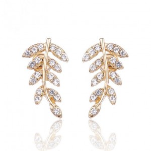 Sweet jewelry 14k gold plated full diamond leaf shape gorgeous lady earring