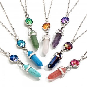 Fashion Women Jewelry Mermaid Scales Bullet Turquoise Natural Stone Pendant Necklace
