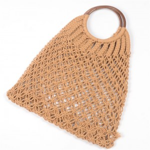 WENZHE Ladies Tote Bag Handmade Hollow Out Straw Bag Cotton Summer Beach Bag