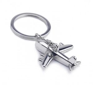 High quality custom design cheap 3D airplane shape metal keychain keyring