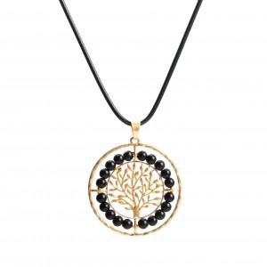WENZHE handmade fashion custom tree of life beads hollow round pendant necklace