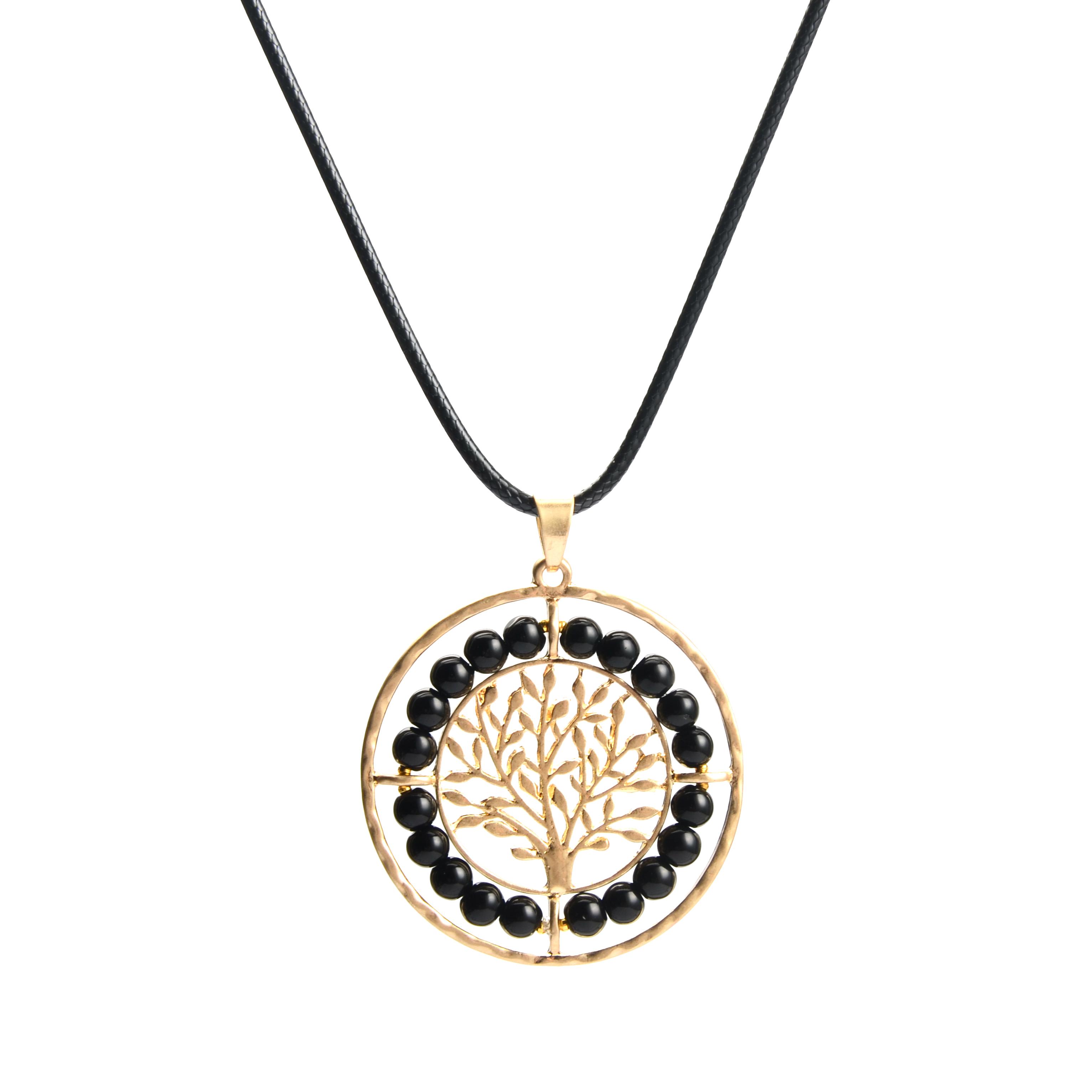 WENZHE handmade fashion custom tree of life beads hollow round pendant necklace Featured Image