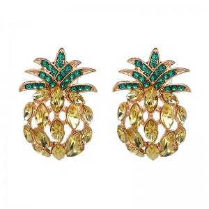 Fashion Jewelry New Hot Sale Fruit Crystal Pineapple Stud Earrings For Women