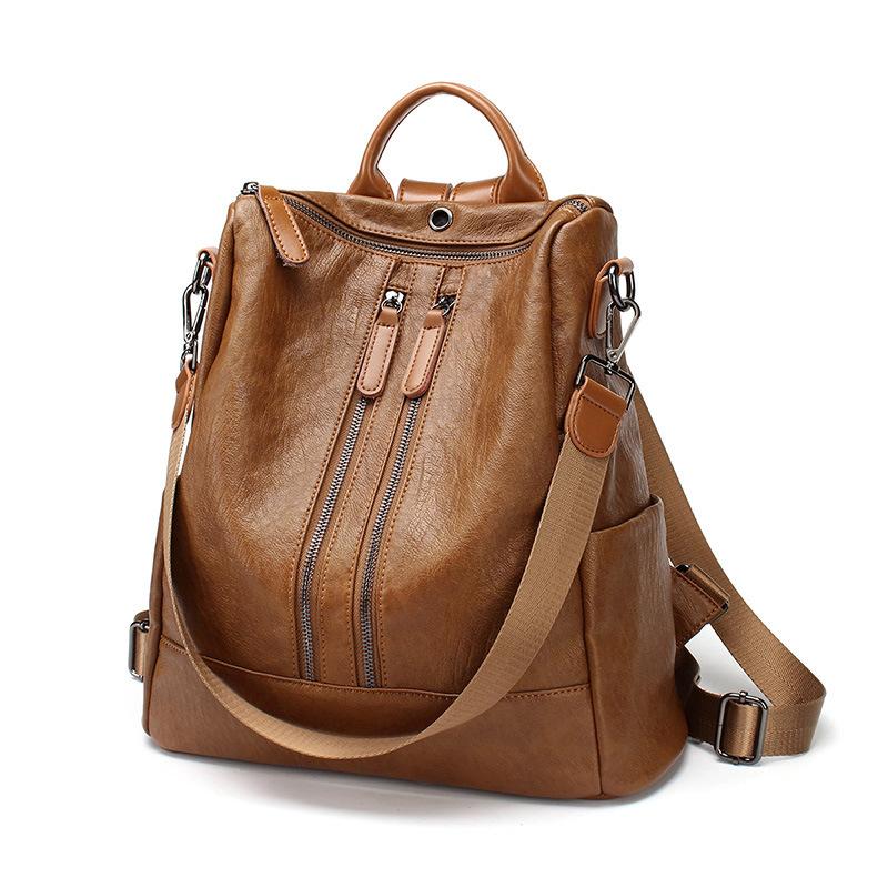 WENZHE PU Leather Backpack Purse Casual Travel Shoulder Bag Vintage Schoolbag Featured Image