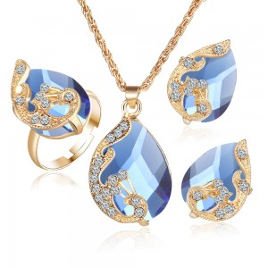 Plated gold Austrian crystal drop peacock three-piece kit pendant necklace earrings ring set women