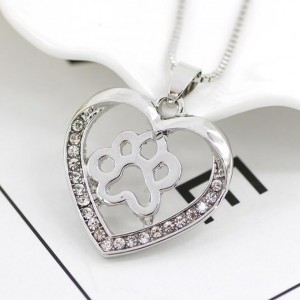 Hot sale jewelry hollow heart shape animal dog paw necklace