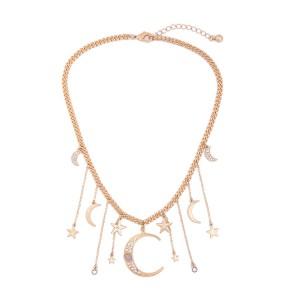 Newest Style Simple Women Tassel Crystal Moon Star Gold Choker Necklace