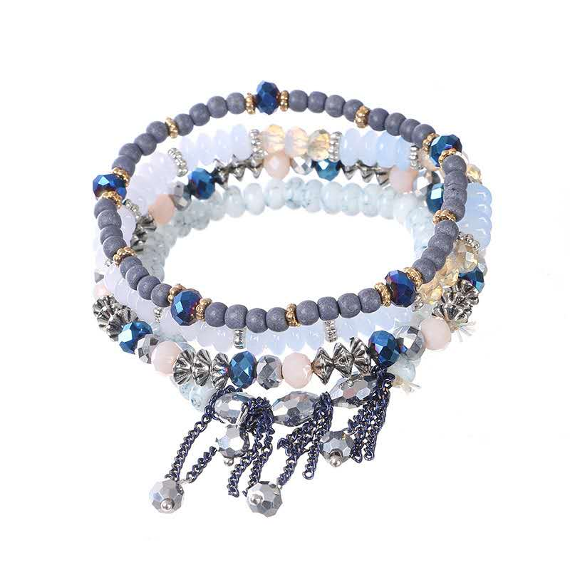 Fashion jewelry boho crystal stone beaded fringe stretch bracelet jewelry female Featured Image