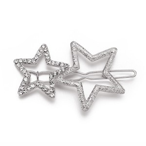 WENZHE newest bling bling alloy hair clip pentacle design geometric hairpin