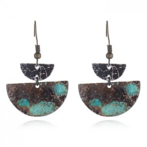 Silver-Tone Mixed Patina Geometric Half-Moon Linear Drop Earrings