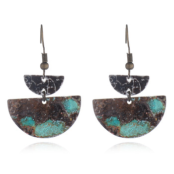 Silver-Tone Mixed Patina Geometric Half-Moon Linear Drop Earrings Featured Image