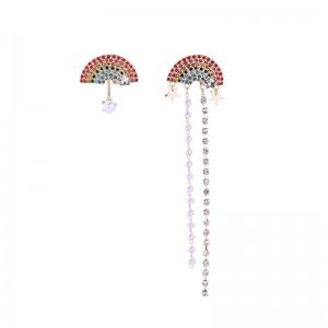 Latest Rainbow Gemstone Pearl Charm Zinc Alloy Chains Earring Order Jewelry