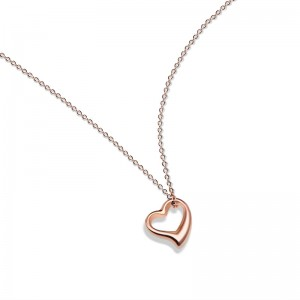 Latest Style Jewelry 316L Stainless Steel Rose Gold Color Heart Pendant Necklace for Women