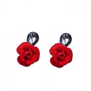 Simple temperament crystal earrings personalized plush rose earrings female manufacturer