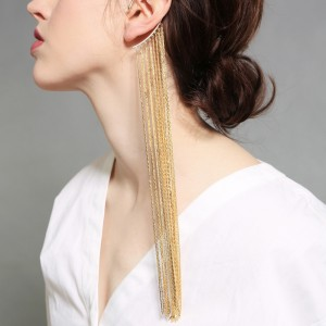 Personality exaggerated long section banquet dress ear hooks single earring long gold tassel earring