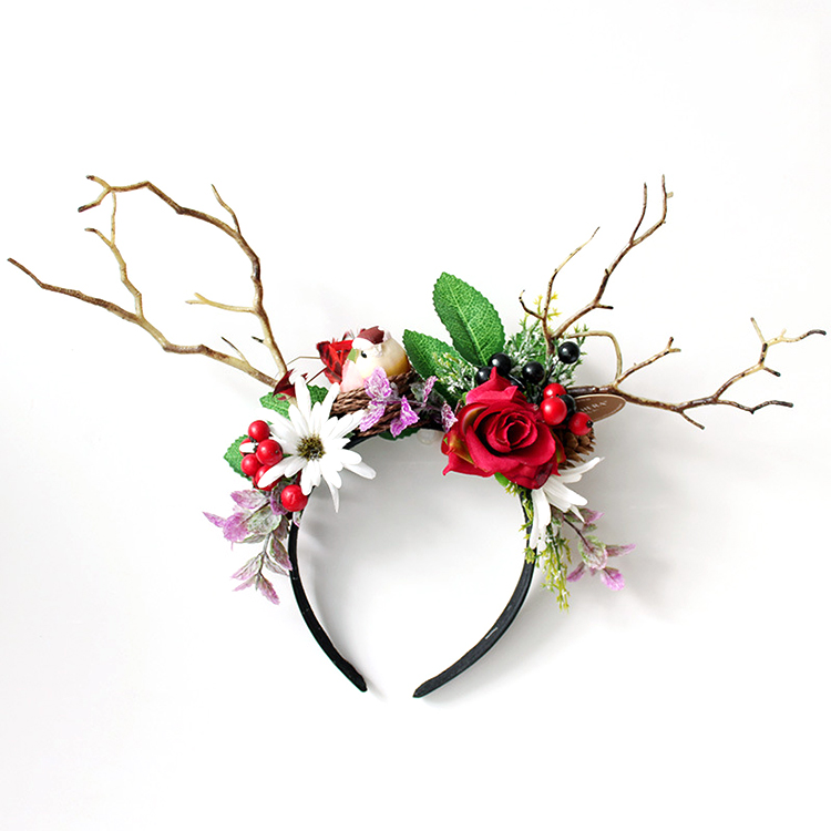2019 Newest Design Halloween Festival Emulational Flower Animal Hair Bands With Antlers Featured Image