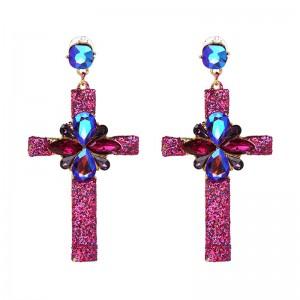New Arrival Alloy Jewelry Fashion Colorful Rhinestone Cross Earrings For Women