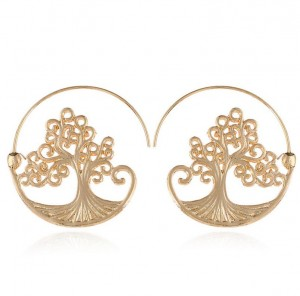Europe and the United States simple fashion tree charm gold earring jewelry