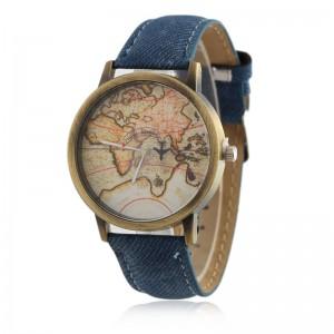 Fashion mini world map print airplane quartz watches,canvas belt watch men,mens cool watches