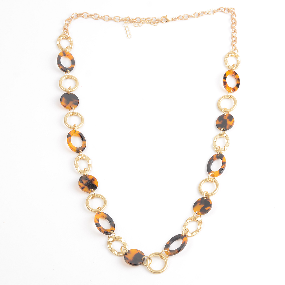 WENZHE Hot Sale Women Geometric Round Leopard Acetate Acrylic Gold Chain Necklace Featured Image