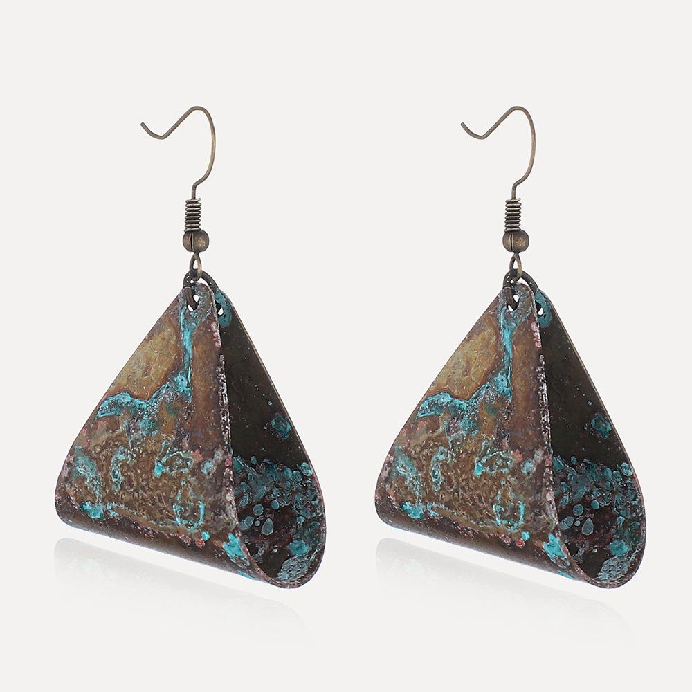 Fashion geometric triangle hollow earrings temperament old metal earrings eardrop female Featured Image