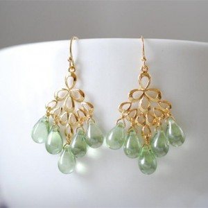 Mint Green Glass Drops Chandelier Earring