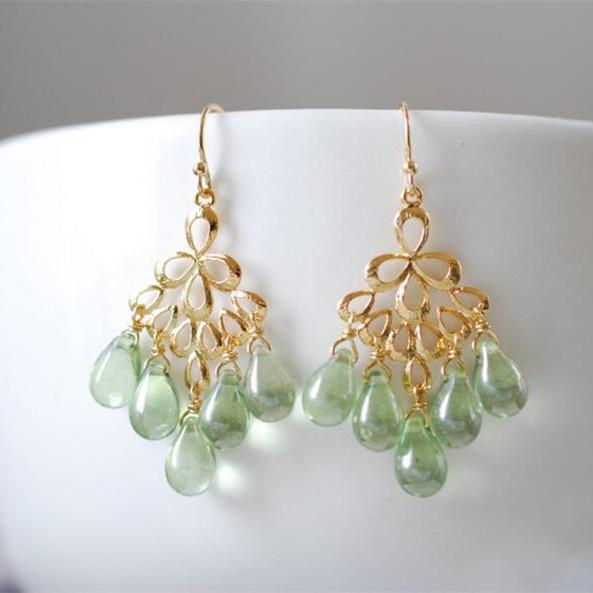 Mint Green Glass Drops Chandelier Earring Featured Image