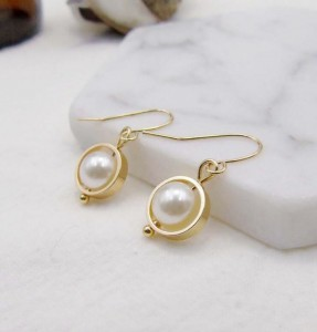Gold Hook Earrings For Woman Newest Geometry Dangle Pearl Jewelry