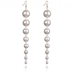Latest design silver color pearl bead long jewellery pearl earrings