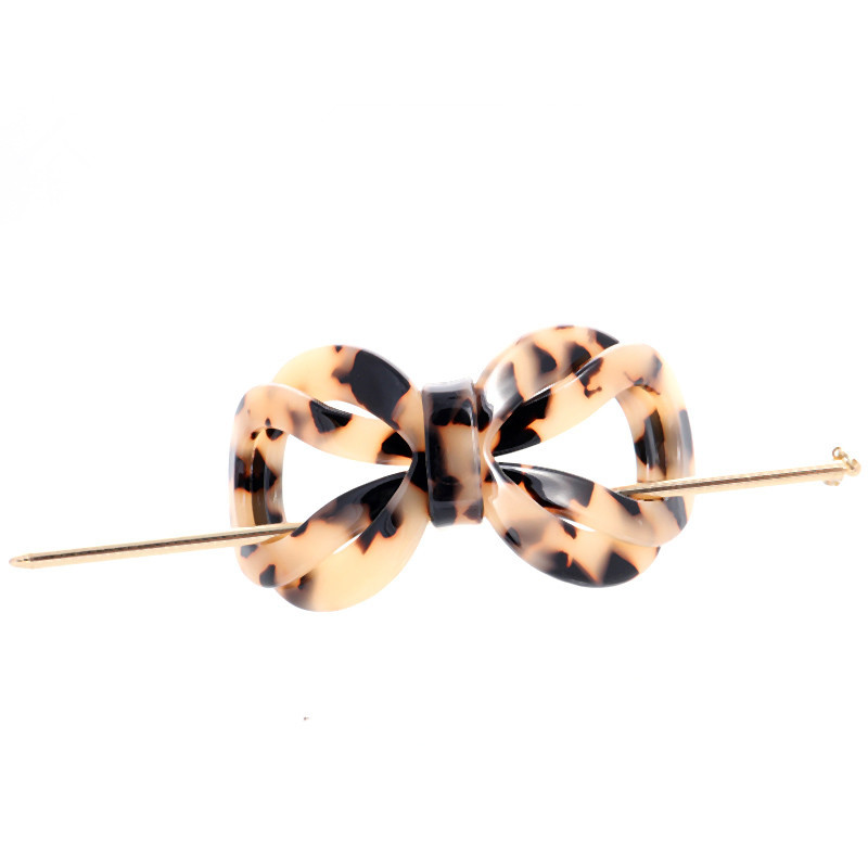 Hot Selling Acetates Tortoise Shell Bowknot pins Clips Hair Forks Accessories For Women Girls Featured Image
