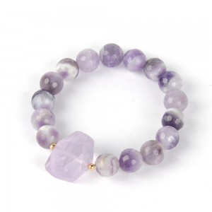 WENZHE Fashion Charm Unique Purple Agate Stone Beaded Bracelet For Women