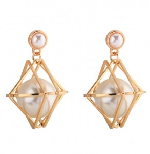 Unique products pearl inlay geometry jewelry women fashion earring