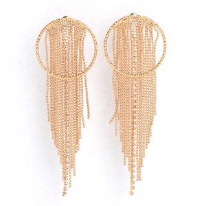 WENZHE Latest Wholesale Gold Beads Crystal Tassel Circles Drop Earrings