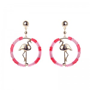 New Arrival Chic Handmade Thread Gold Plated Flamigo Bird Hoop Earrings for Women