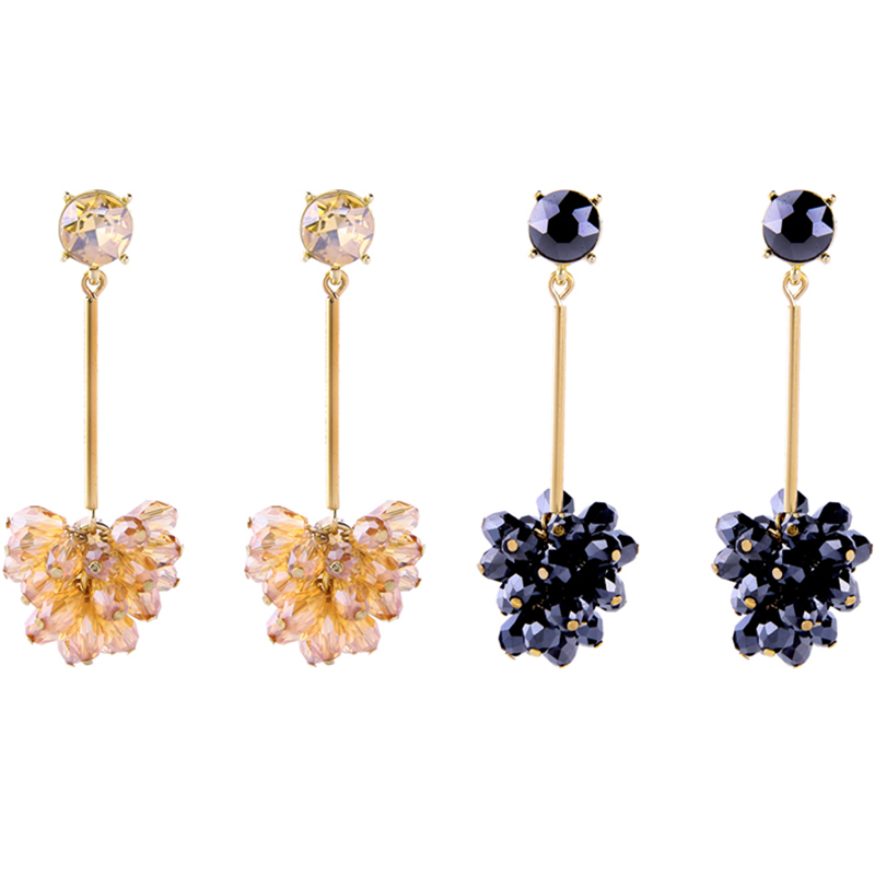 Fashion Glass Gold Plated Flower Pendant Earrings for Women Featured Image