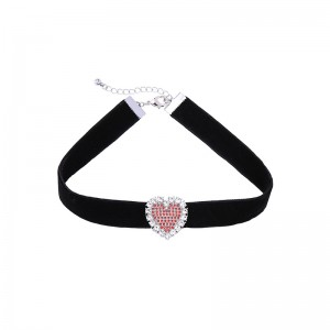 Simple Love Heart Charm Wide Velvet Black Choker Necklace For Women And Girls