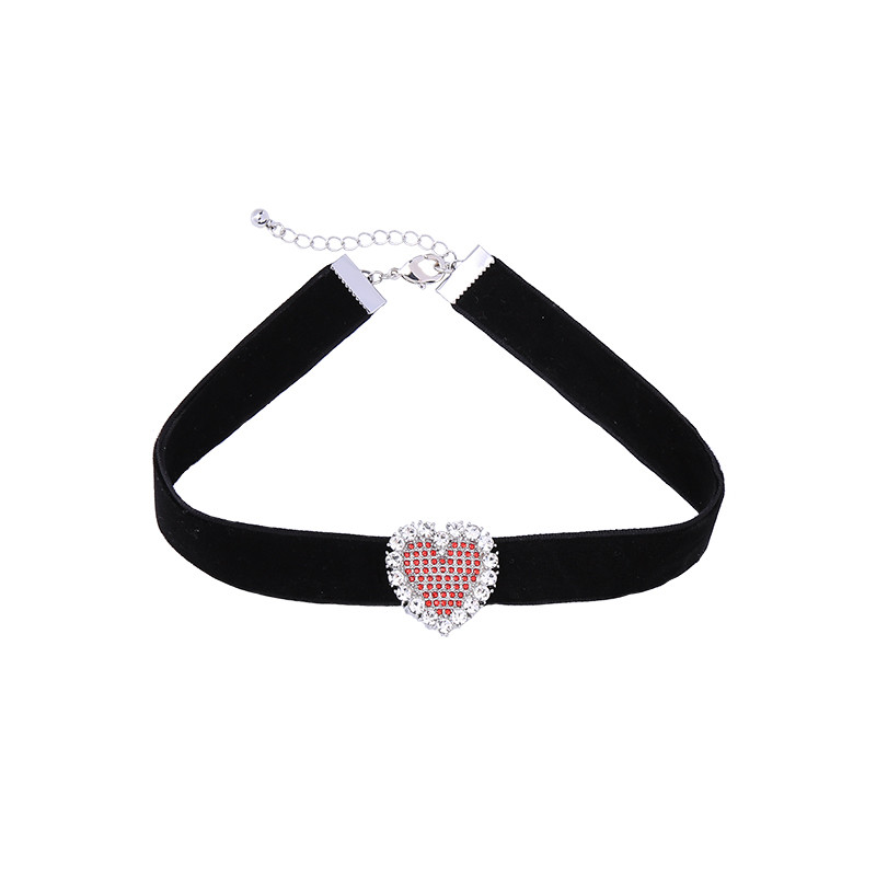 Simple Love Heart Charm Wide Velvet Black Choker Necklace For Women And Girls Featured Image