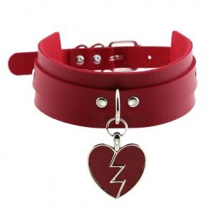 Harajuku Rock Lightning Heart Pendant Collar Choker Heartbreaking Love Double Leather Choker