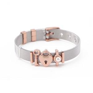 Hot Sale Stainless Steel Bracelets Lock Charms Keeper Bracelet