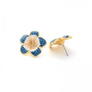 Fresh enamel glaze flower earring studs female temperament Korean fashion earring for woman
