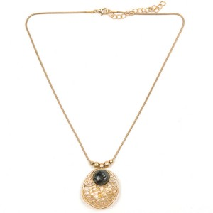 WENZHE Gold Plated Gem Stone Alloy Pendant Necklace