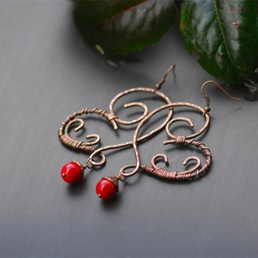 Red coral Dangle Copper Earrings Rustic Hammered Copper coral Earrings Bohemian Earrings Antiqued Copper Artisan Earwires heart chandelier Featured Image